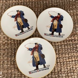 Norman Rockwell Gorham plates set of 3 1982 Merry